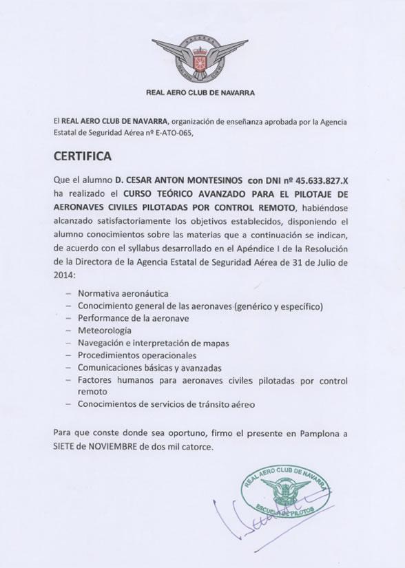 Título Skydron, César Antón, Piloto de drones profesionales de la empresa de drones profesionales en Valencia Skydron