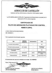 Piloto de drones profesional autorizado AESA César Antón