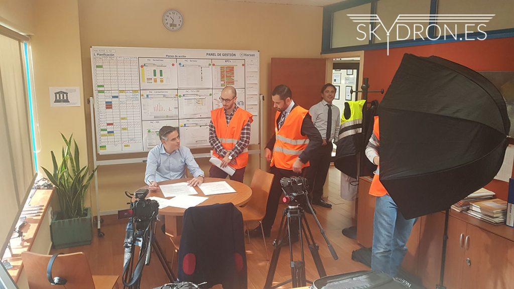 Volando en interior con nuestros drones para vídeo corporativo de Grupo Marsan